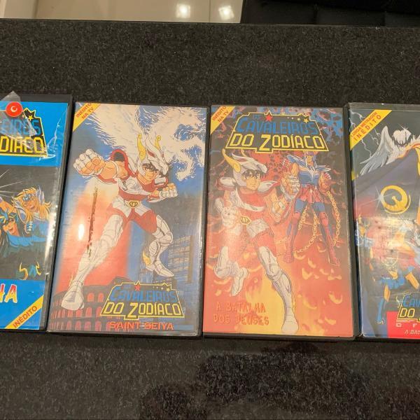 kit 4 fitas vhs cavaleiros do zodiaco originais nas caixas