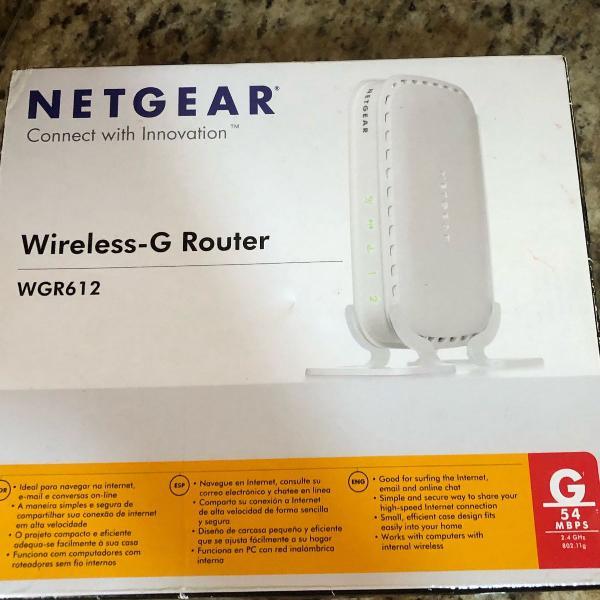 roteador netgear wireless wgr612-100las c/ 2 portas. usado