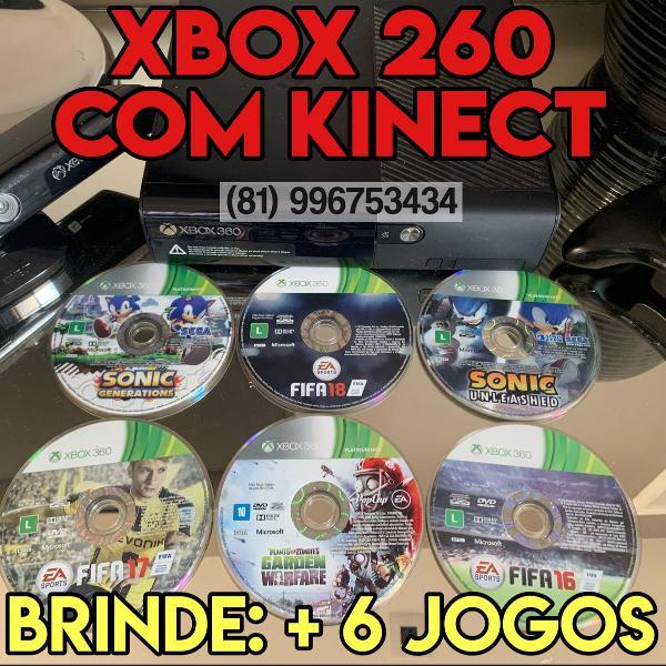 xbox 360 - com kinect, controle e + 6 jogos de brinde!!