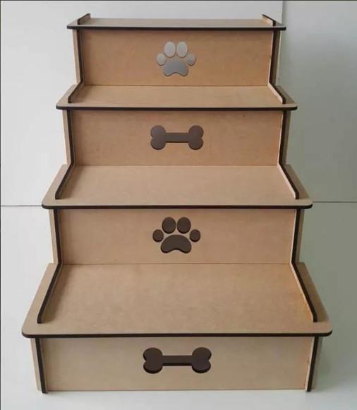 Escada Pet Para Cachorro E Gato Com 4 Degraus Mdf 6mm