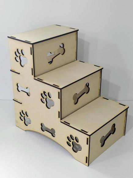 Escada Pet para Cachorros e Gatos em MDF com 3 Degraus