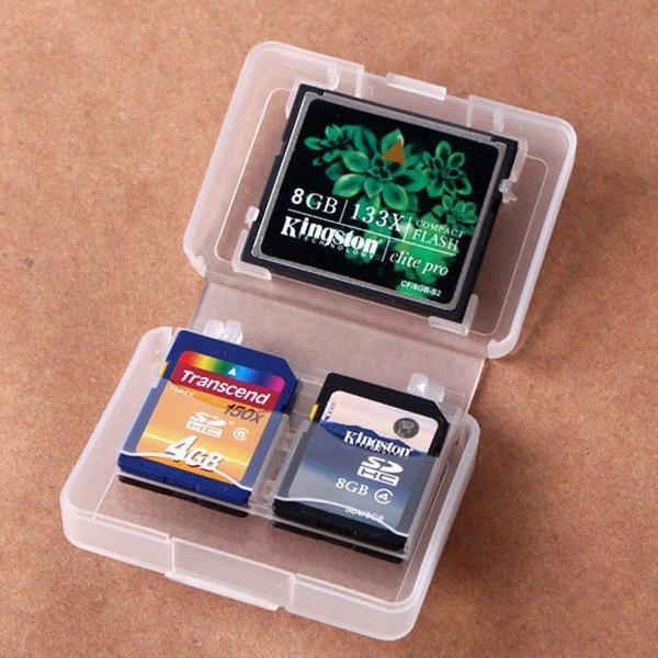 Case Box Capa Para Cartão Memoria Sd Cf 5 Em 1 Transparente