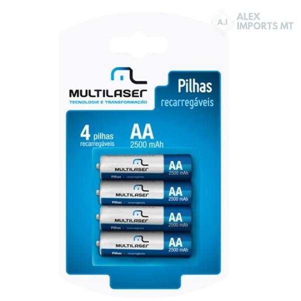 Pilha Recarregável Média AA 2500mah Multilaser Cb052 com 4