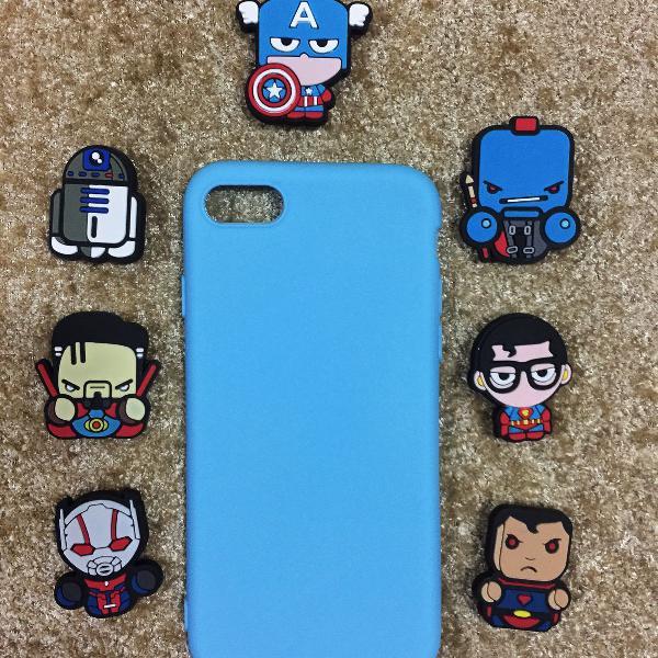case azul iphone 6 6s 7 8 x + protetor de cabo usb