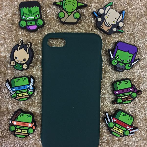 case verde iphone 6 6s 7 8 x + protetor de cabo usb