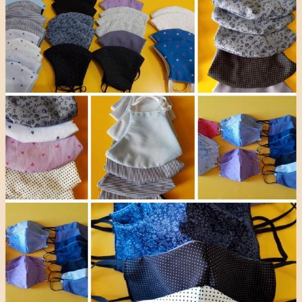 Kit de máscaras de tecido tricoline duplo
