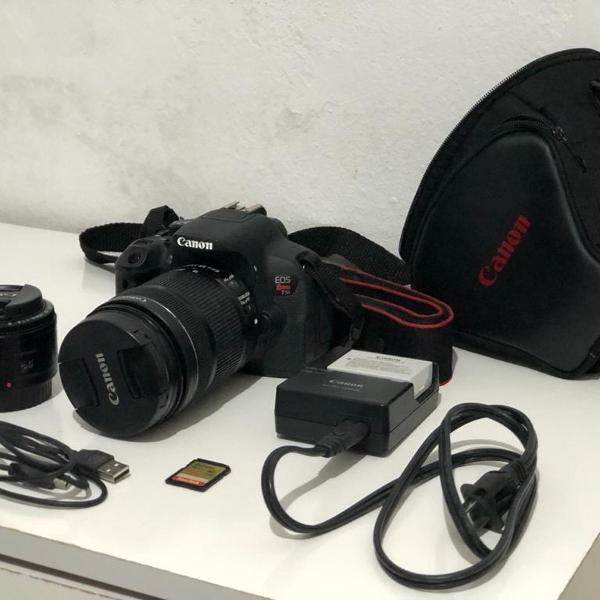 Kit Câmera Canon EOS Rebel T5i + 2 Lentes + Cartão de