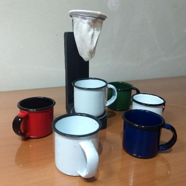 Suporte mini para café coado com 6 xícaras