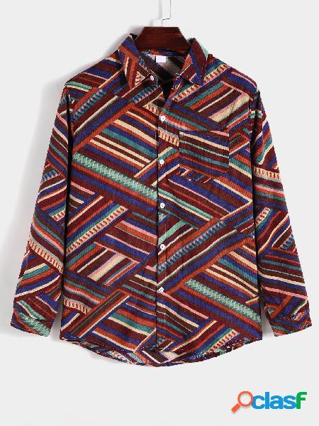 Camisa masculina casual estampada geométrica de manga