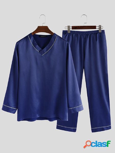 Conjunto de pijama INCERUN masculino casual liso de manga