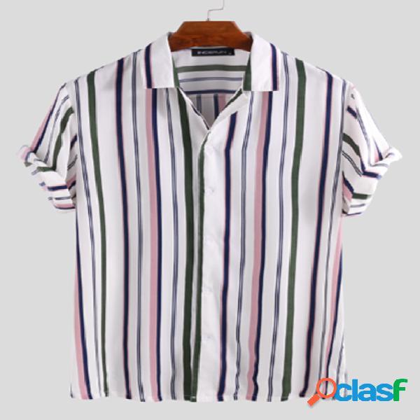 INCERUN Homens Multi Color Striped Camisa
