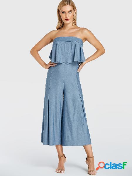 YOINS Macacão azul claro dupla camada liso sem alças